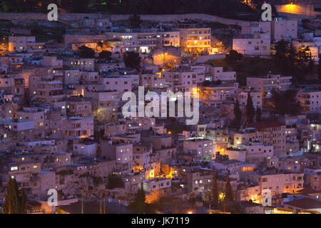 Israel, Jerusalem, Old City, elevated town view of the Kidron Valley, evening - Stock Photo