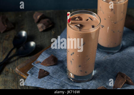 Cold Refreshing Iced Hot Chocolate Milk with Ice - Stock Photo