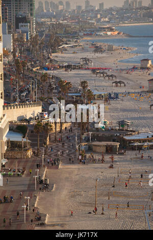 Israel, Tel Aviv, elevated beachfront view, late afternoon - Stock Photo