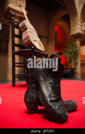 Spain, Andalucia Region, Seville Province, Seville, Museo Flamenco museum, guitar and boots - Stock Photo