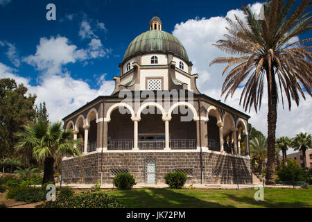 Israel, The Galilee, Tabgha, Mount of the Beatitudes, Church of the Beatitudes, exterior - Stock Photo