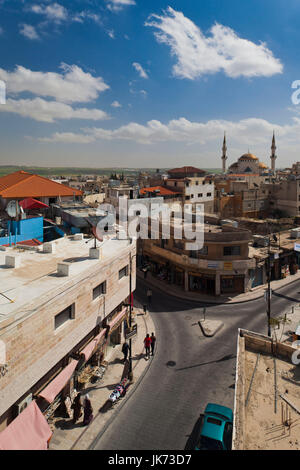 Jordan, Kings Highway, Madaba, elevated town view with mosque - Stock Photo