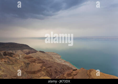 Jordan, The Dead Sea, Suweimah, elevated view of the Dead Sea towards Israel - Stock Photo