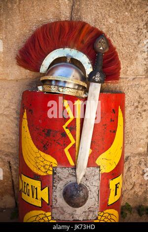 Jordan, Jerash, Roman Army and Chariot Experience, Roman Military gear - Stock Photo