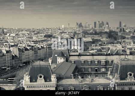France, Paris, elevated city view from the Cathedrale Notre Dame cathedral - Stock Photo