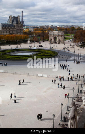 France, Paris, Musee du Louvre museum, elevated courtyard view towards the Jardin des Tuileries - Stock Photo