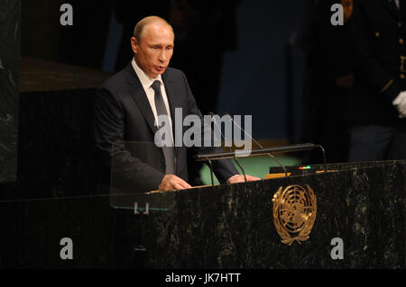NEW YORK, NY - SEPTEMBER 28: Russian President Vladimir Putin addresses the 70th session of the United Nations General - Stock Photo