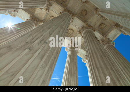 a close up of the columns from the building of the Supreme Court in Washington, D.C., USA - Stock Photo