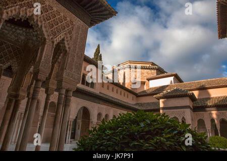 Patio de los Leones (Court of the Lions), Palacios Nazaríes, La Alhambra, Granada, Spain - Stock Photo
