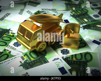 Gold Missile System And Radar On The Euro Money. 3D Illustration. - Stock Photo