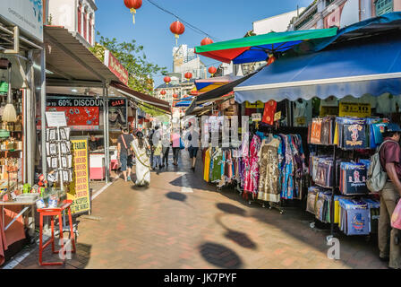 Typical Shophouses and small stalls in Chinatown, Singapore. - Stock Photo