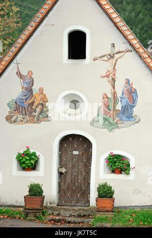 Chapel with paintings, Klais, Werdenfelser Land, Bavaria, Germany | Kapelle mit Lueftlmalerei, Klais, Werdenfelser - Stock Photo