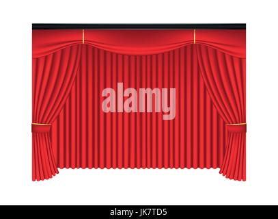 Red luxury curtains and draperies on white background, realistic vector illustration - Stock Photo