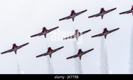 The CF Snowbirds (Royal Canadian Air Force) flypast over Ottawa, Capital of Canada, on the Canada Day - Stock Photo