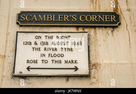 Information sign at Scambler's Corner, Haddington, Scotland, UK, indicating flood height in August 1948 when River - Stock Photo