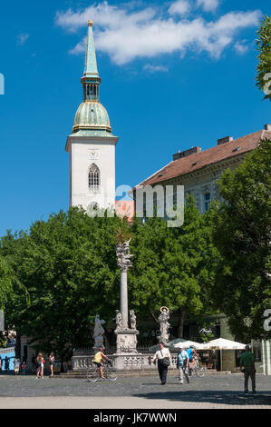 Rybne Square and the St Martin's Cathedral, Bratislava, Slovakia - Stock Photo