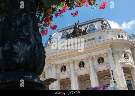 View of the National Theatre and Hviezdoslavovo square, Bratislava, Slovakia - Stock Photo