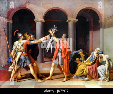 Jacques-Louis David, Copy of the Oath of the Horatii 1786 (original by David made in 1784) Oil on canvas. Toledo - Stock Photo