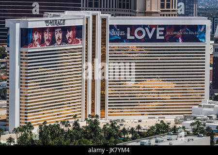 Las Vegas - Circa July 2017: Aerial view of The Mirage Hotel and Casino. The Mirage is the home of The Beatles: - Stock Photo