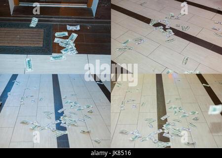 Money  bills dollars scattered on the floor - Stock Photo