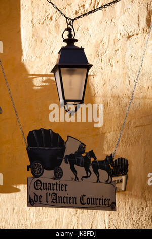 France, Languedoc-Roussillon, Herault Department, Montpellier, rue de l'Ancien Courrier sign - Stock Photo