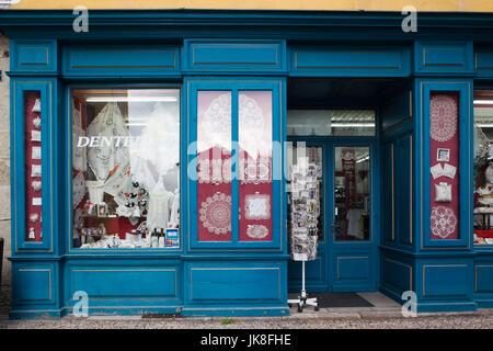 France, Haute-Loire Department, Auvergne Region, Le Puy-en-Velay, lace shop - Stock Photo