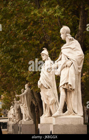 Spain, Madrid, Centro Area, Plaza de Oriente, statues of Spanish Kings by the Palacio Real, Royal Palace - Stock Photo