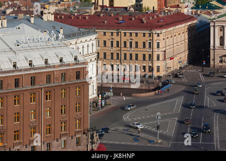 Russia, Saint Petersburg, Center, elevated view of the Astoria Hotel from St. Isaac Cathedral - Stock Photo