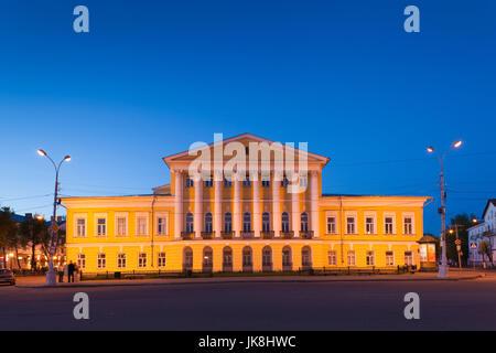 Russia, Kostroma Oblast, Golden Ring, Kostroma, Susaninskaya Square, courthouse, evening - Stock Photo