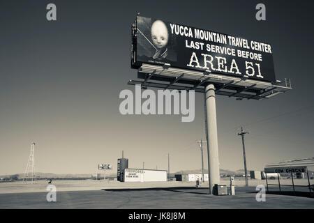 USA, Nevada, Great Basin, Amargosa Valley, sign for Area 51 - Stock Photo