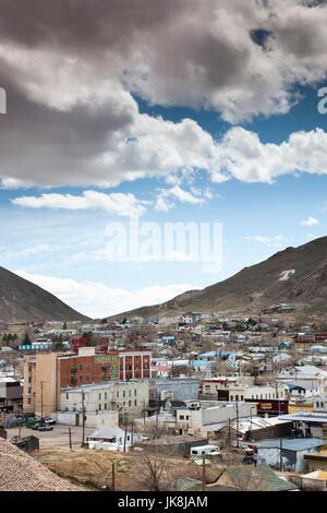 USA, Nevada, Great Basin, Tonopah, elevated town view - Stock Photo