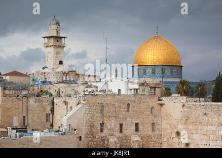 Israel, Jerusalem, Old City, Jewish Quarter, elevated view of the Western Wall Plaza, late afternoon - Stock Photo