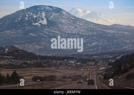 USA, California, Northern California, Northern Mountains, Grenada, view of Mt. Shasta, elevation 14,162 feet from - Stock Photo