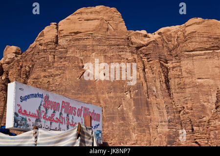 Jordan, Wadi Rum, Rum village, sign for the Seven Pillars of Wisdom supermarket - Stock Photo