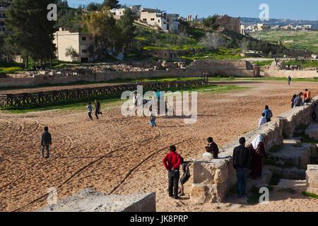 Jordan, Jerash, Roman Army and Chariot Experience, chariot race parctice, NR - Stock Photo