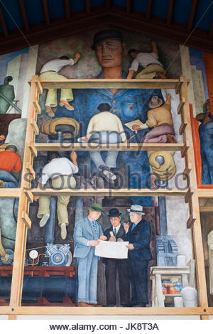 Mexican artist diego rivera mural of mexican history in for Diego rivera mural san francisco art institute