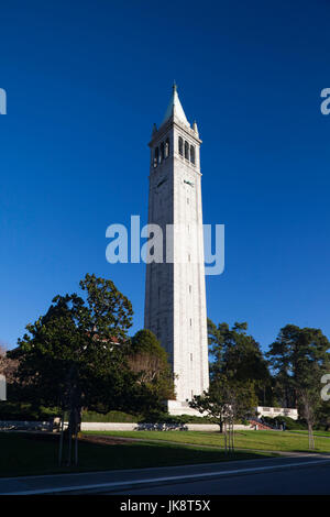 USA, California, San Francisco Bay Area, Berkeley, University of California Berkeley, Sather Tower, Campanile - Stock Photo
