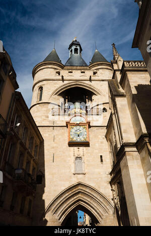 France, Aquitaine Region, Gironde Department, Bordeaux, Porte de la Grosse Cloche, 15th century city gate - Stock Photo