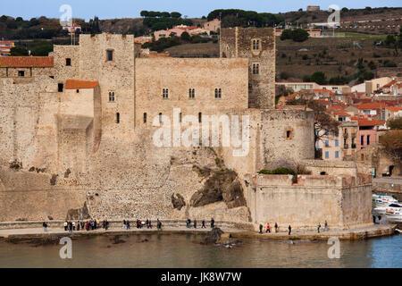 France, Languedoc-Roussillon, Pyrennes-Orientales Department, Vermillion Coast Area, Collioure, Chateau Royal - Stock Photo