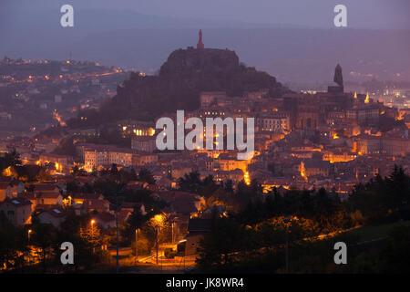 France, Haute-Loire Department, Auvergne Region, Le Puy-en-Velay, town overview, dawn - Stock Photo