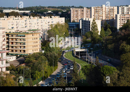 France, Languedoc-Roussillon, Herault Department, Montpellier, elevated city view from the Corum Convention Hall - Stock Photo