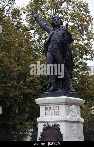 France, Jura Department, Franche-Comte Region, Lons-Le Saunier, birthplace of Rouget de Lisle, author of the French National anthem, The Marseillaise, statue of Rouget de Lisle