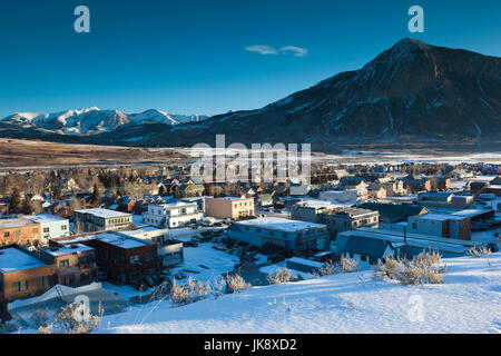 USA, Colorado, Crested Butte, elevated town view, with Mount Crested Butte, morning - Stock Photo