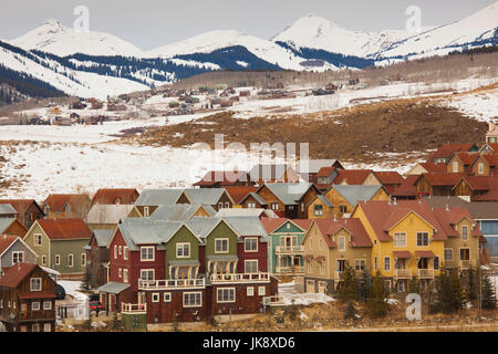 USA, Colorado, Crested Butte, Mount Crested Butte Ski Village, elevated view - Stock Photo