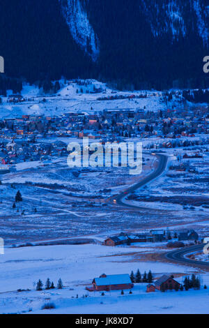 USA, Colorado, Crested Butte, elevated town view, dawn - Stock Photo