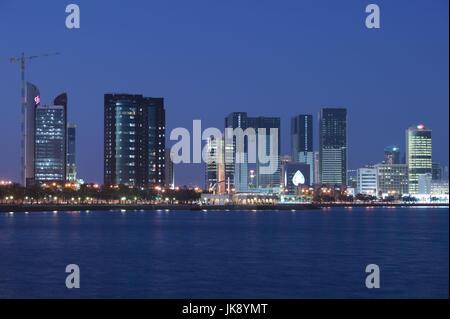 Katar, Doha, West Bay, Stadtansicht, Hochhäuser, Beleuchtung, Abend, - Stock Photo
