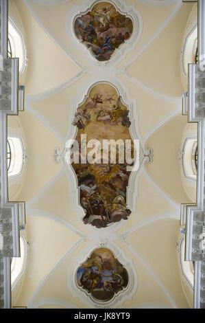 Italien, Insel Sizilien, Noto, Kirche San Carlo  Borromeo, Innenaufnahme, Detail,  Deckengemälde,  Süditalien, Reiseziel, - Stock Photo