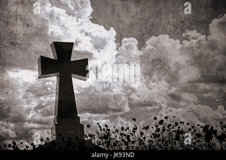 Grunge image of a cross in the cemetery, perfect halloween background - Stock Photo