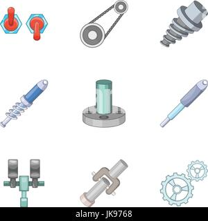 Mechanical and electrical parts icons set - Stock Photo
