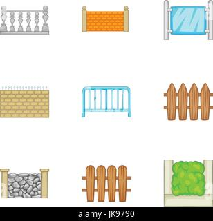 Sections of the fence icons set, cartoon style - Stock Photo